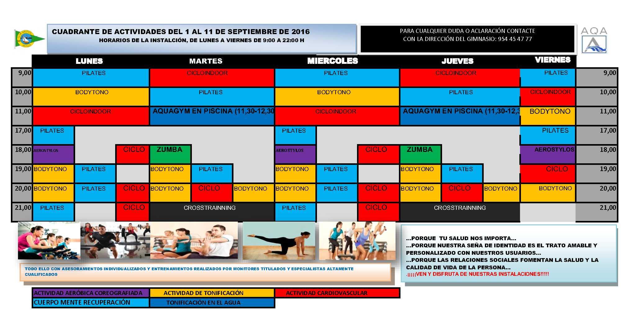 actividades horarios del gimnasio del 1 al 11 de